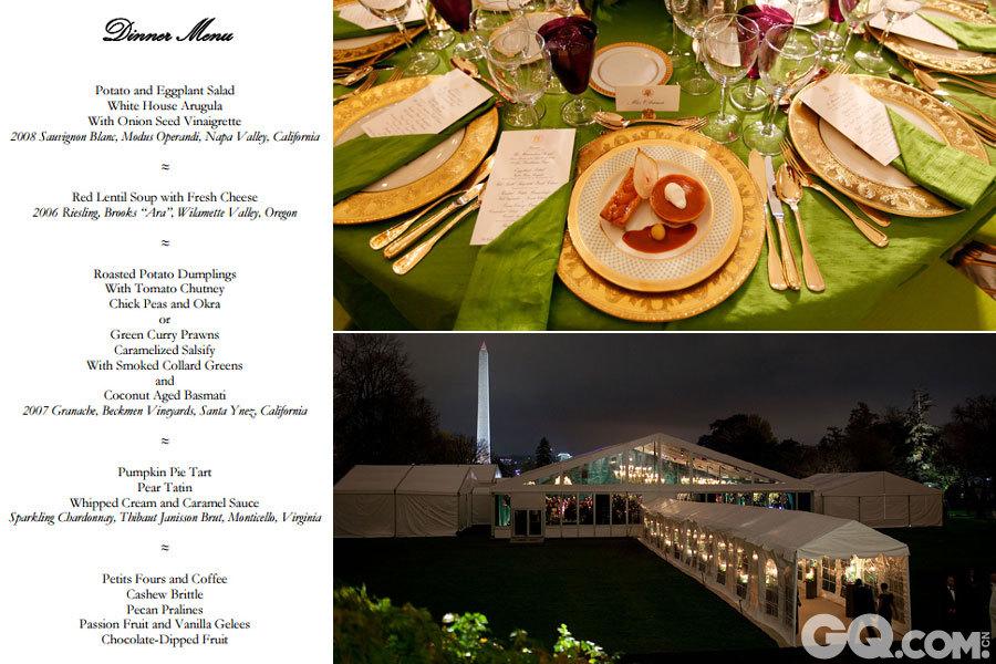 """2009年11月24日,奥巴马在白宫南草坪上具有印度风格的临时帐篷里为辛格举行国宴。这是奥巴马上任后举行的首场国宴,奥巴马夫妇这次煞费苦心,从花的颜色到""""第一夫人""""的穿着,国宴几乎每个细节都包含印度元素。   在草坪上新搭的帐篷里,上挂枝形吊灯,下铺米色地毯,内摆10张圆桌。圆桌颜色华丽,有苹果绿、红宝石、金黄等颜色。桌子上摆有玫瑰、八仙和香豌豆等鲜花,和前总统德怀特·艾森豪威尔、比尔·克林顿以及乔治·W·布什时期白宫用过的精美瓷器,两侧摆有5件银器和一个水晶玻璃杯。   国宴的菜单是精心选定的,其中专门为素食主义者辛格准备了鲜美素食。宴会菜谱主打印度和美国时令菜肴,头道菜是土豆和茄子沙拉。甜点有南瓜馅饼、涂有生奶油和焦糖淋酱的梨挞,每道甜点都会配有不同口味的红酒。   第一道菜为土豆和茄子沙拉,白宫芝麻菜配洋葱籽油醋汁,以及长相思白葡萄酒。   第二道菜是红扁豆汤,配以鲜奶酪,以及威士莲白葡萄酒。   主菜为炖土豆丸配西红柿酸辣鹰嘴豆和羊角豆或者绿咖喱对虾婆罗门参配熏甘蓝,配以椰子印度香米饭,以及歌海娜红葡萄酒。   甜点是南瓜蛋挞,奶油焦糖梨挞,以及霞多丽起泡酒。"""