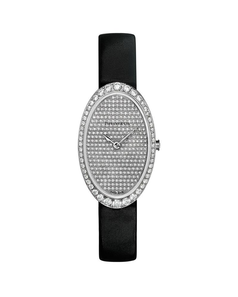 张艾嘉佩戴Tiffany Cocktail 18k白金镶钻腕表