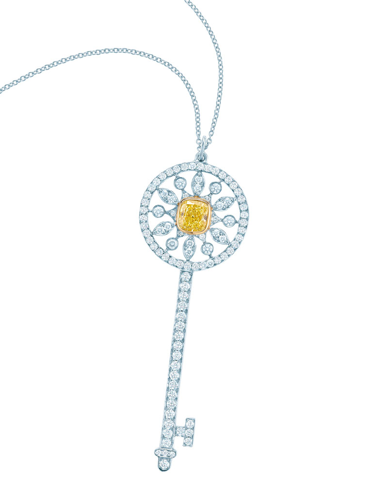 陈鲁豫佩戴Tiffany Keys 18k白金镶嵌黄钻和白钻星形钥匙吊坠