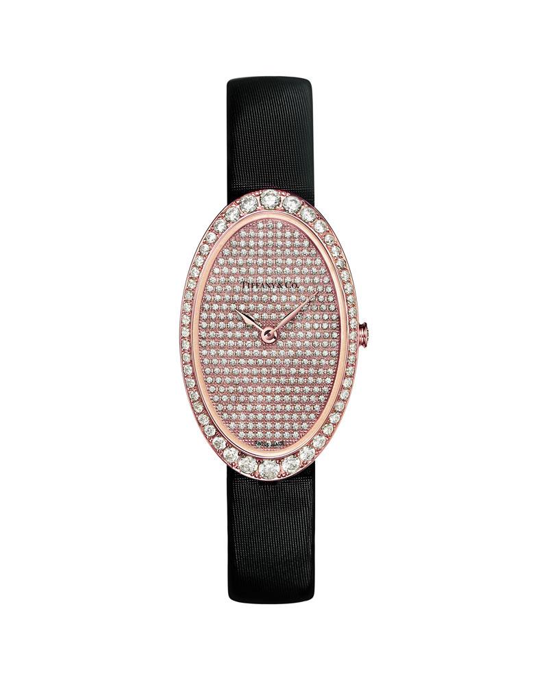 蒋雯丽佩戴Tiffany Cocktail 18k玫瑰金镶钻腕表