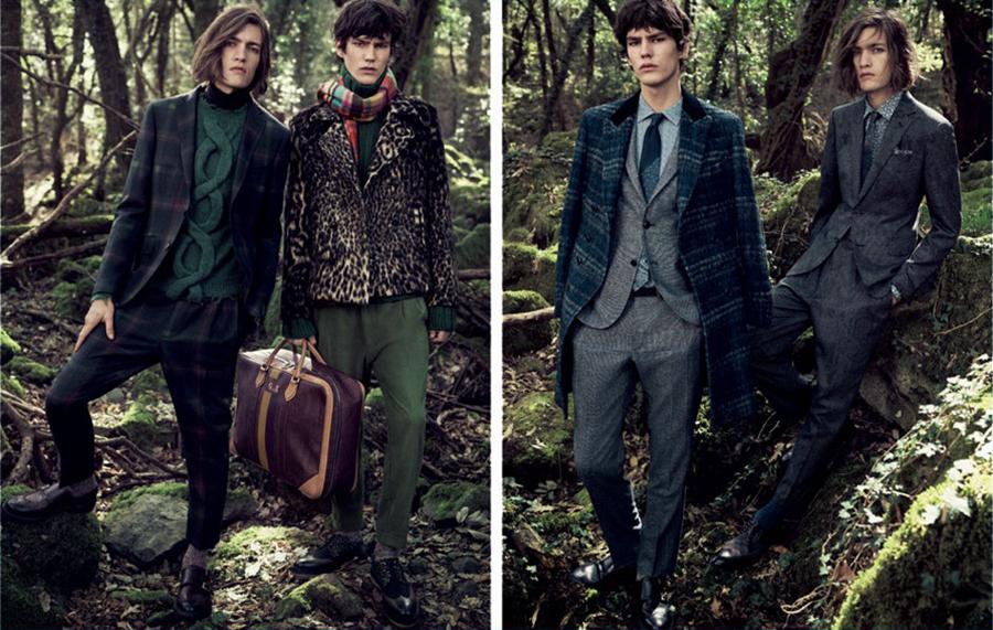 """意大利品牌Etro本季再度联手男模Marcel Castenmiller,推出2016秋冬广告大片。以大自然为背景,寻求自然的气息,主张""""重返自然""""。采用接近原木色的奢华棕色开司米毛衣,深浅不一的绿色运用在不同单品上体现层次感。繁复的印花、格子、豹纹,彰显着奢华的品质。"""
