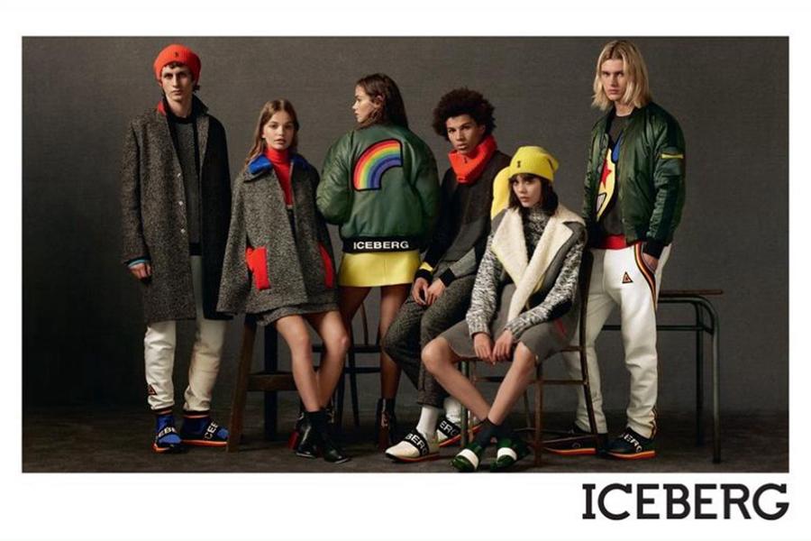 Iceberg为了融入社交媒体时代,本季大片发布在Instagram后,吸引了300,000人的关注。本季设计以冬季的主打色——黑色、驼色、军绿色为底色,添加了红蓝黄点缀在袖口、衣摆出,立刻显出与众不同,洋溢着青春欢快的时尚态度。