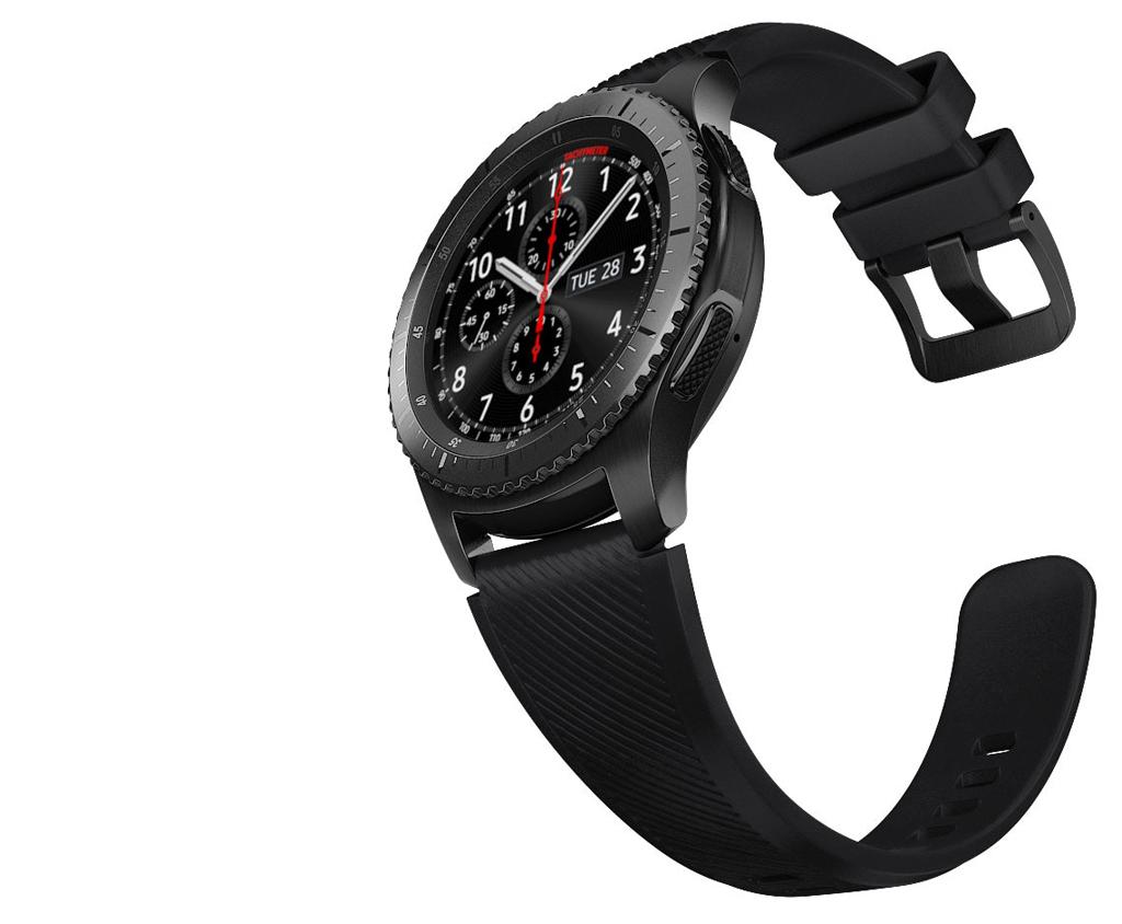 NO.5 三星 Gear S3  三星 Gear S3的屏幕是1.36英寸圆形Super AMOLED屏幕,分辨率为360x360,在显示效果和防护性上都不错。为了给运动爱好者提供更好的服务,此款手表内置GPS、心率检测、气压计等很多传感器,让用户随时可以监控自己的健身数据。