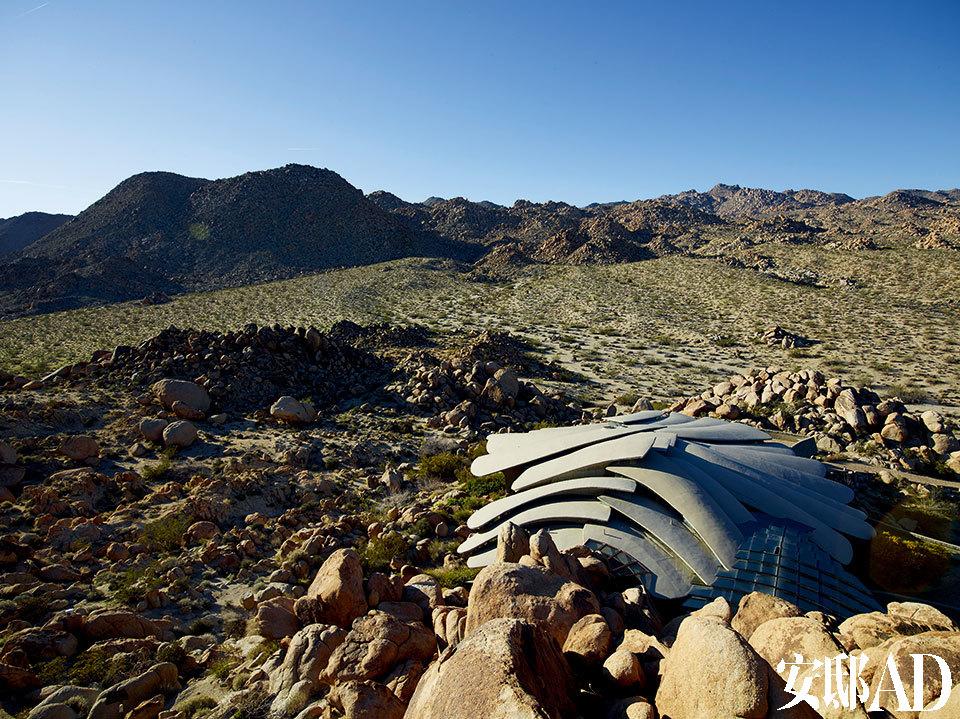 房屋位于美国南加州的一个沙漠地带的山脊,像棵耶和华树一样,直直地矗立,又像是被包裹在巨大混凝土花瓣中。