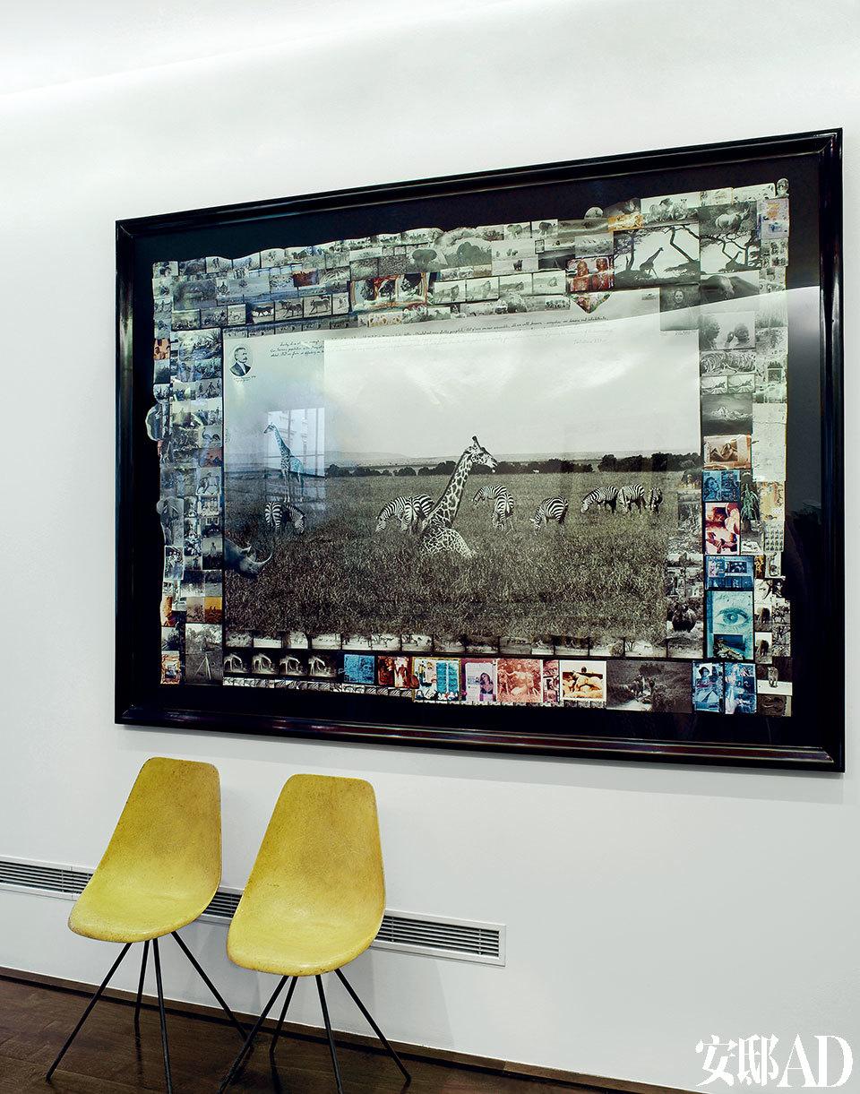 Hoppen画廊。一对玻璃纤维制成的20世纪40年代座椅由JR. Picard设计。