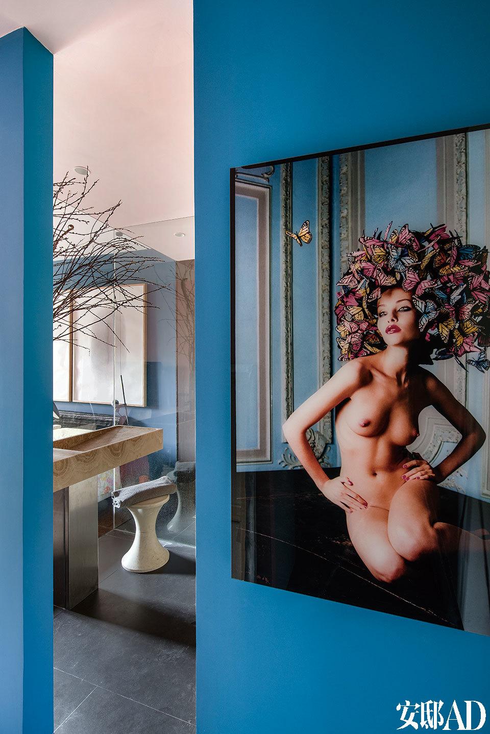 法布里斯有意打造一个开阔而流畅的空间,拆除了原本隔在入口和起居室之间的墙,使私密空间和开放空间的界限更模糊。卧室入口处的摄影作品名为《Nature's Naked Loveliness》(大自然裸露的可爱),来自David Lachapelle。