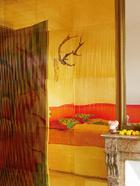 屏风上有印度的神话和宗教人物。金色镜面墙上映射出颜色香艳的床,镜面墙来自巴黎的King Mirror。