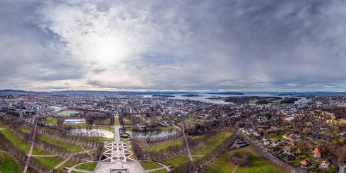 挪威奧斯陸維格朗雕塑公園高空全景