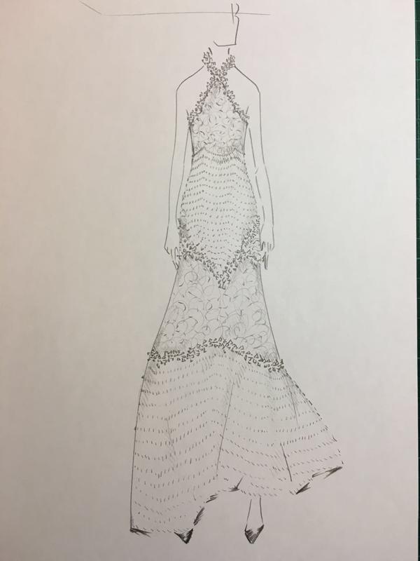 蓬蓬可爱礼服裙的简笔画