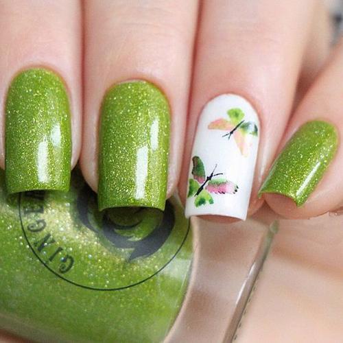 【图】绿色美甲清新又时尚