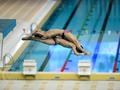 中国跳水队访问澳门 众健儿大秀花式跳水