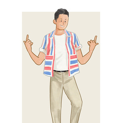 每日穿搭|正经的短袖衬衫和不正经的条纹元素