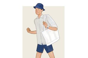 每日穿搭|渔夫帽帆布包,做个清新食草男