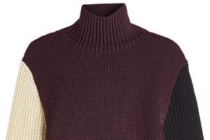 可优雅可休闲的三色拼接羊毛衫