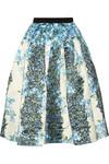 Sidewalk 花卉印花硬质真丝中长半身裙