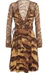 Kara 动物纹真丝针织和雪纺绸裹身连衣裙
