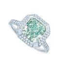 蒂芙尼浓彩蓝绿钻戒指