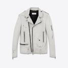 Saint Laurent 粉笔白和黑色水洗皮经典机车皮夹克