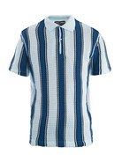Mesh-weave stripe polo top