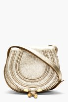 Chlo Platinum Metallic Marcie Small Shoulder Bag