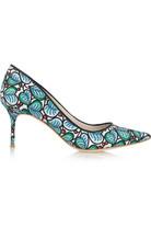 + Sophia Webster 印花斜纹布中跟鞋