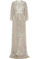 带缀饰金属感真丝长罩衫裙