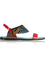 Mexican 刺绣漆皮凉鞋