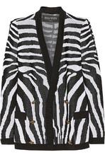斑马纹提花针织开襟衫