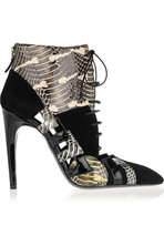 蛇皮、漆皮和绒面革及踝靴