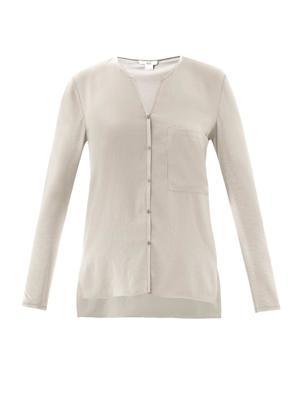 Woven front collarless shirt