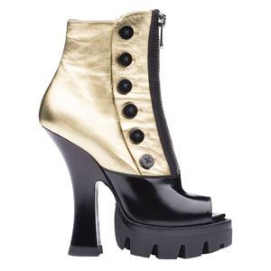 Miu Miu2013秋冬季系列金黑色拼接短靴