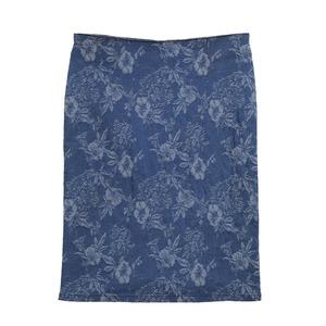 GUESS盖尔斯蓝色印花牛仔半裙