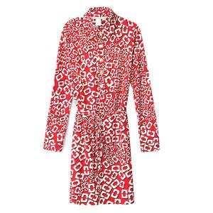 Diane von Furstenberg红×白链扣裹身裙