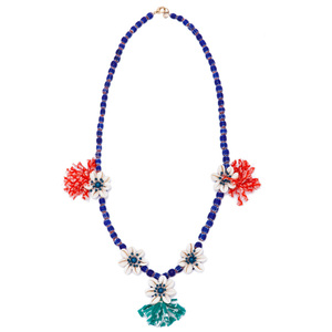 Tory Burch 2013春夏民族风蓝色串珠贝壳项链