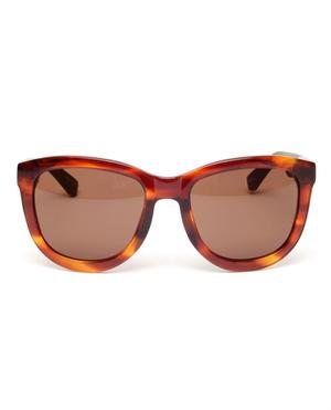Contrasting Acetate and Leather Sunglasses