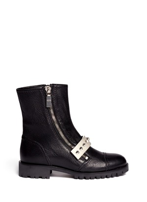 Studded plate leather biker boots