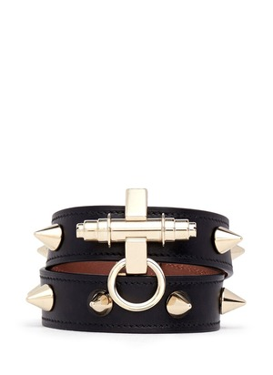 Obsedia stud double wrap leather bracelet