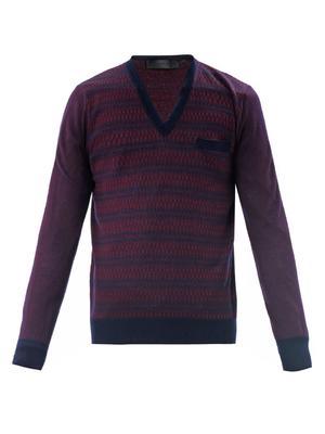 Jacquard stripe V-neck sweater