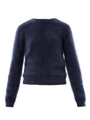 Banded angora sweater