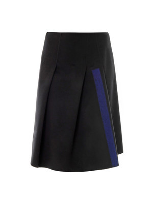 Needle-punch stripe wool skirt