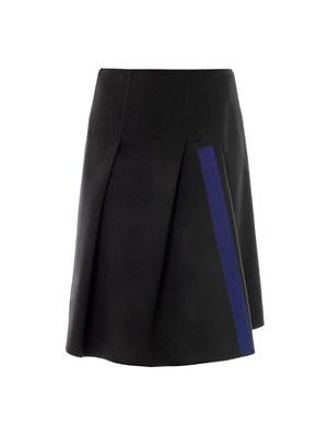Needle-punch stripe wool skirt
