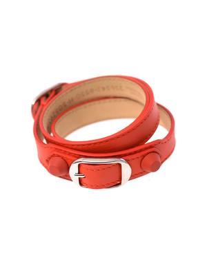 Rubber stud wrap-around leather bracelet