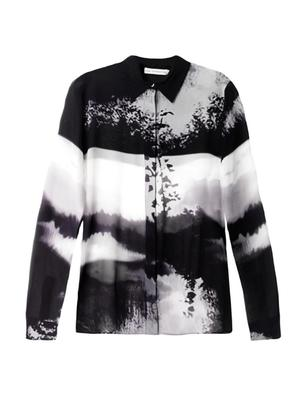 Woodstick-print silk blouse