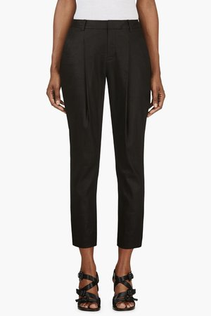 Helmut Lang Black Pleated Glossy Twill Trousers