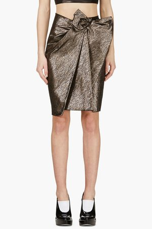 Lanvin Gunmetal Grey Jacquard Wrap Front Skirt