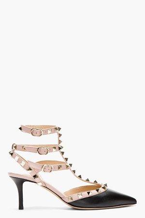 Valentino Black And Rose Rockstud Strapped Heels