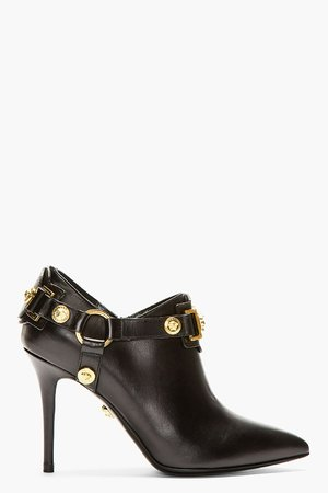 Versace Black Leather Medusa Medallion Ankle Boots