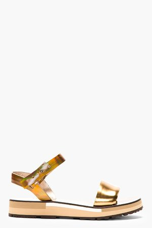 Lanvin Golden Leather Wood_paneled Sandals