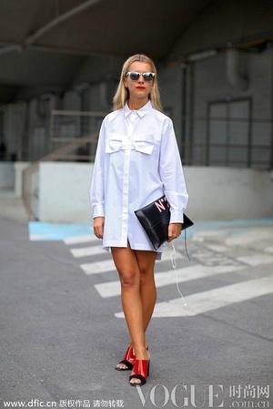 白色衬衫裙的六种不同气质路线