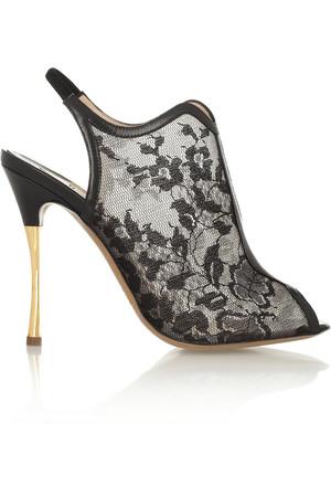 蕾丝网眼和皮革凉鞋